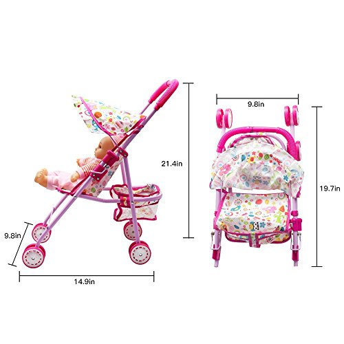 Annie's Collection Baby Doll Stroller with Doll, Foldable with Basket and Adjustable Hood for Girls Aged 1-2 Years Old by Annie's Collection (Image #2)