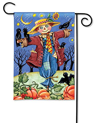 BreezeArt Studio M Moonlight Scarecrow Decorative Garden Flag - Premium Quality, 12.5 x 18 Inches ()