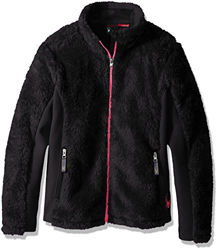 Spyder Girls Fleece - Spyder Girls Conjure Mid WT Stryke Fleece Shirt, Black/Bryte Bubblegum, Small