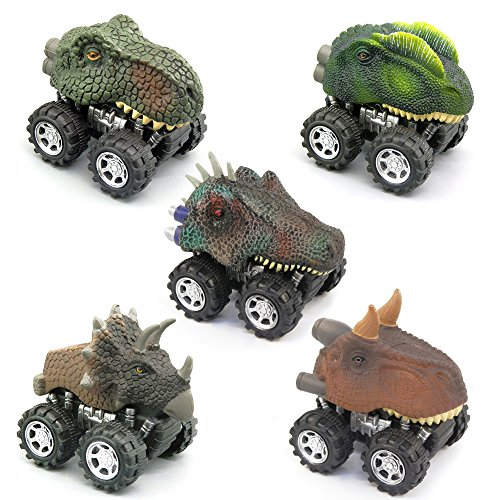 5 Pcs Pull Back Toy Car Dinosaur Party Favor Toys for Kids by Baidercor