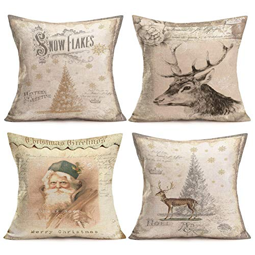 Asamour Vintage Xmas Pillow Shams Set of 4 Christmas Tree Reindeer Santa Snowflake Element Home Decorative Cotton Linen Throw Pillow Cushion Cover 18''x18''