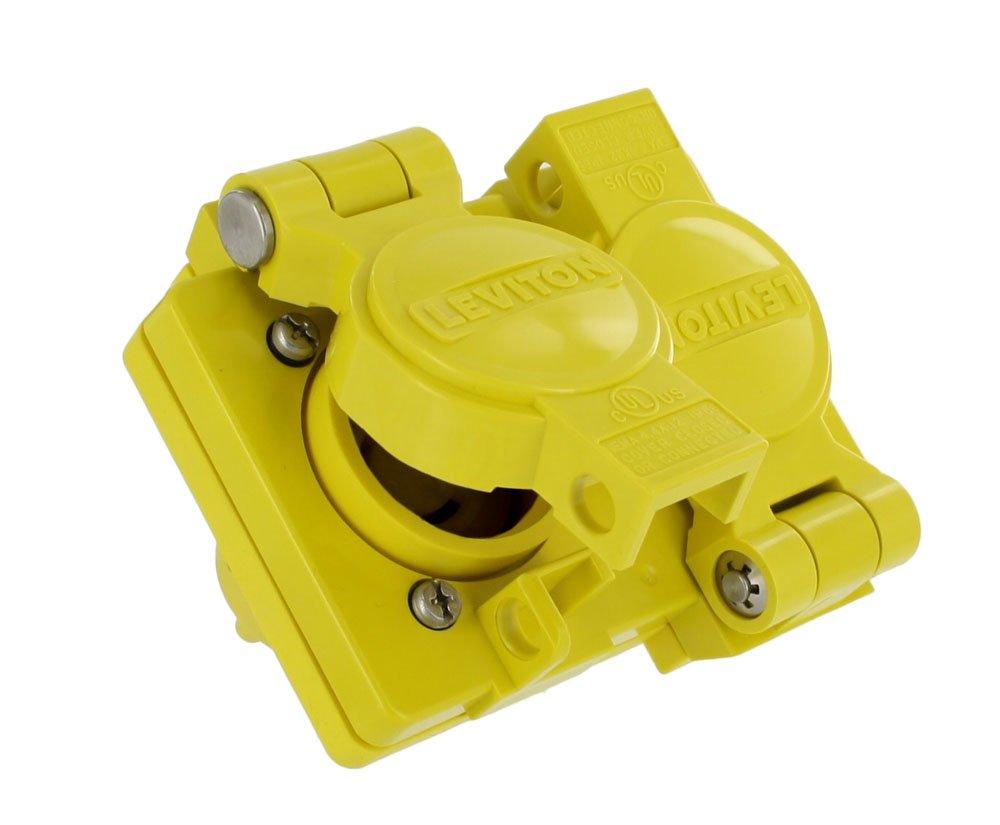 Leviton 80W47-D 15 Amp, 125 Volt, NEMA 5-15, 2P, 3W, Industrial Grade, Grounding, Wetguard, Straight Blade Duplex Outlet, Yellow