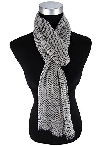 Chiffon écharpe en gris noir à pois - écharpetaille 180 x 50 cm
