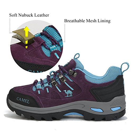 On Hiking Trekking for Slip Outdoor Shoes Shoes Climbing Walking Safety Gym Suede Shoes Running Women Shoes Purple Moon Camel Shoes CRpBqnw