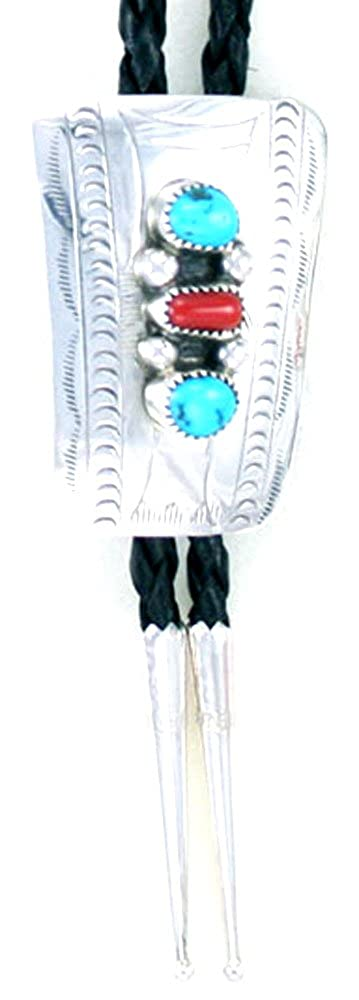By Navajo Artist Wilbert Myers:Beautiful! Sterling-silver Navajo Turquoise-Coral Bolo-tie TB