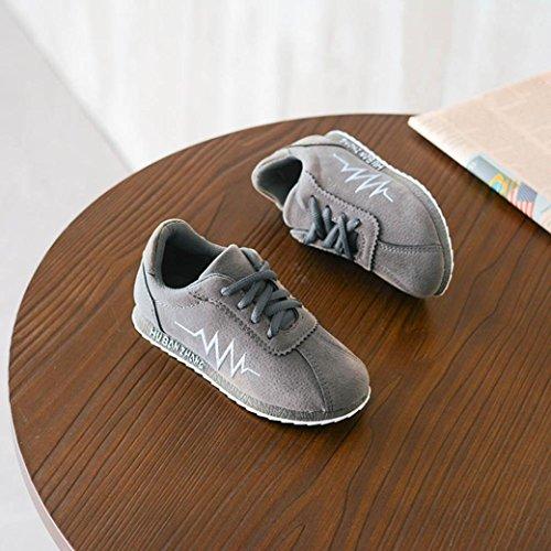 Huhu833 Kinder Schuhe Kinder Kind Infant Solide Elektrokardiogramm Brief Leder Sneaker Einzelne Schuhe Grau