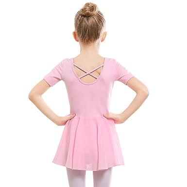 2c31d74c0 STELLE Girls Ballet Short Sleeve Dress Leotard for Dance