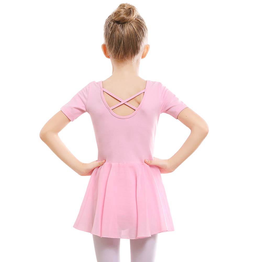STELLE Girls Ballet Short Sleeve Dress Leotard for Dance, Gymnastics and Ballet(Toddler/Little Girl/Big Girl)(110cm, Ballet Pink)
