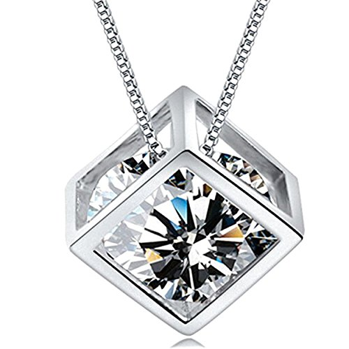 Nelegant Women Girls Sterling Silver Love Magic Cube Diamond Pendant Necklace Square Crystal Heart Round Cubic Zirconia Pendant with Box Chain (White) - Pendants Classic Diamond Heart Necklaces