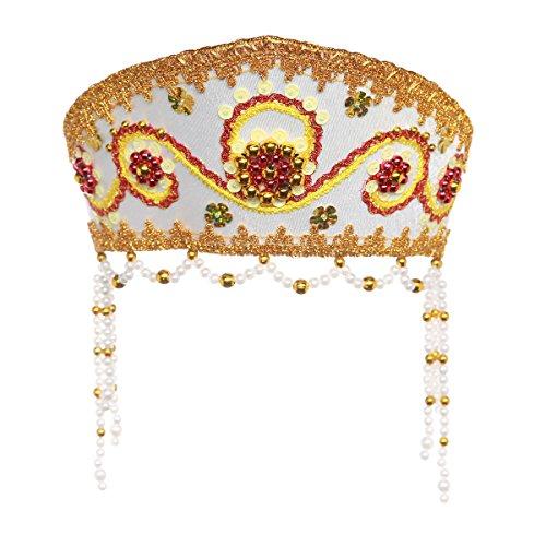 "Russian Traditional Folk Costume Headdress Kokoshnik ""Alina"" white #569"
