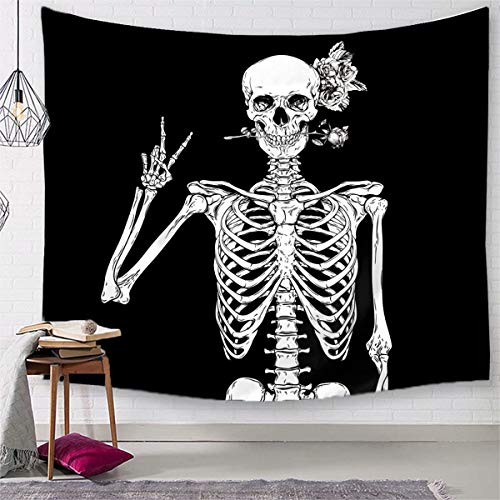 TSDA Skull Rose Tapestry Black and White Wall Hanging Skeleton Rock and Roll Tapestry Decor for Living Room Bedroom Dorm (Small-59 x 51 -