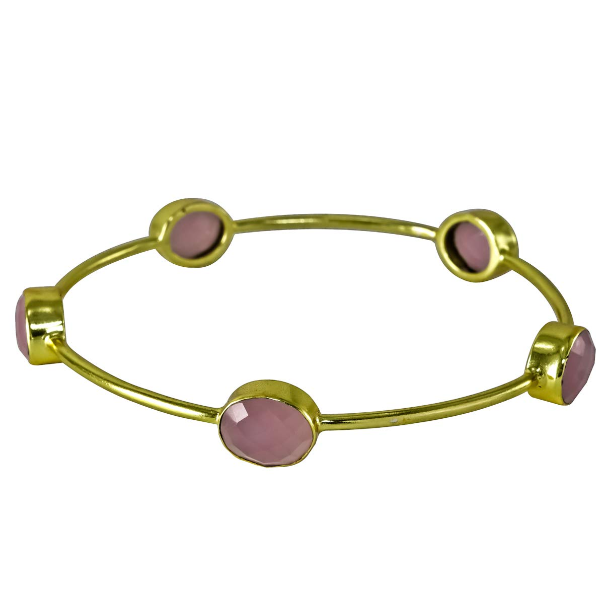 Handmade Bangles /& Bracelets Bezel 65 Cms Pink Chalcedony 18k Gold Plated Brass Stackable,
