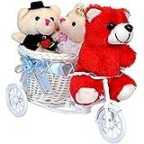 Anishop Romantic Valentine Love Cute Couple Teddy With A Beautiful 2 Rabbit Teddybear Basket Cycle Gift Set For Friend Family Girlfriend Boyfriend