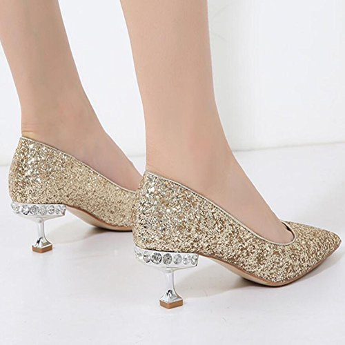 Gray 8 Heels Sequins Heels Wedding Comfort Gray5 Women Banquet 5 Shoes Summer Red GAOLIXIA Black amp; Party Gold Silver Tip Spring High 5cm 5 5cm T1Xvq0
