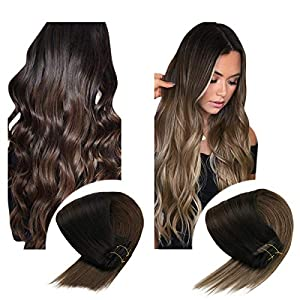 Sunny Ombre Clip in Hair Extensions Human Hair Double Weft Full Head Clip in Extensions Human Hair Ombre 7pcs 120g Remy…