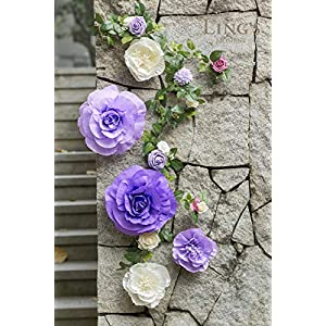 Ling's moment Handcrafted Large Crepe Paper Flowers(5pcs) & 14 Heads Artificial Rose Greenery Garland, Flower Arrangement for Baby Nursery Wedding Party Backdrop Bridal Shower Photo Booth Centerpiece 2