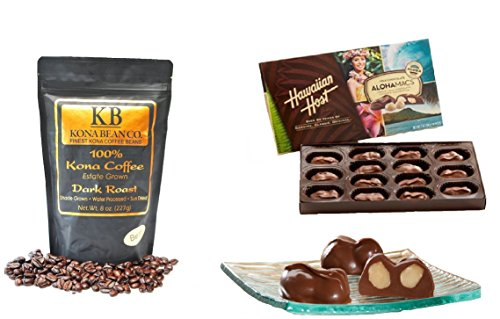 Kona Coffee & Hawaiian Hotel-keeper Gourmet Coffee Chocolate Gift set 100% Kona Coffee Dark & Medium Roast Coffee Whole Bean & Ground Alohamacs Silky Wring Chocolate Macadamia Nuts (Dark Roast, Whole Bean)