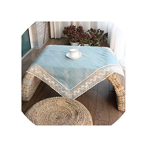 Simple Europe Blue Tablecloth Linen Cotton Lace Edge Rectangular Dust Proof Table Covers for Tea Table Fridge,Sky Blue,130x180cm