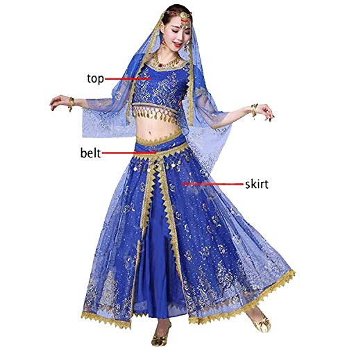Belly Dance Costume Set Dance Outfit Bollywood Stage Skirt Bellydance,Beige,One Size -
