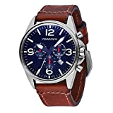 Torgoen T16 Blue Swiss Chronograph Pilot Watch | 44mm - Vintage Leather Strap ...
