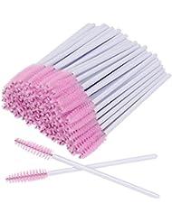 AKStore 100 PCS Disposable Eyelash Brushes Mascara Wands Eye Lash Eyebrow Applicator Cosmetic Makeup Brush Tool Kits (White-Pink)