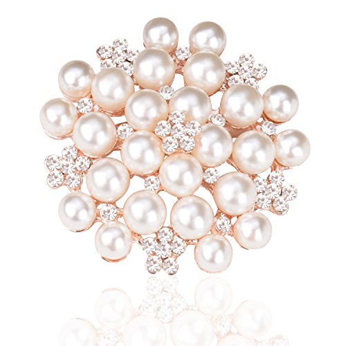 TAGOO Multi Circles Vintage Brooch Safety Pin Clip in Crystal Pearl for Women&Girls, Wedding/Banquet/Bouquet (Imitation Pearls Gold 1.77