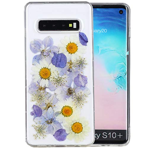 Galaxy S10 Plus Case, iYCK Handmade [Real Dried Flower and Leaf Embedded] Pressed Floral Flexible Soft Rubber TPU Protective Shell Back Case Cover for Samsung Galaxy S10 Plus - Purple -
