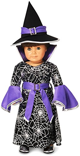 Witch Cloth Doll - Spider Web Silver Printed Witch 18