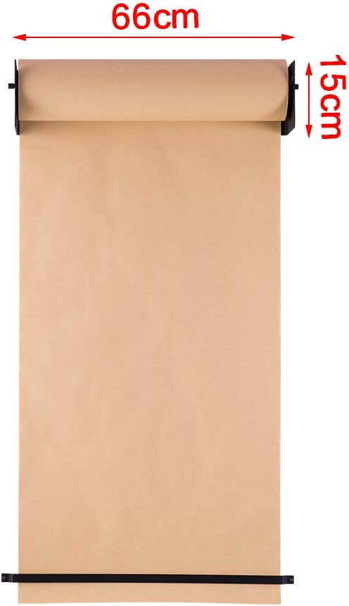 Cafe Shop Study Artist Studio Hershii Wall Mounted Hanging Easel Novelty Kids Toy Adult DIY Drawing Note Kraft Paper Roll and Black Bracket Holder Home Decoration for Children Bedroom Living Room