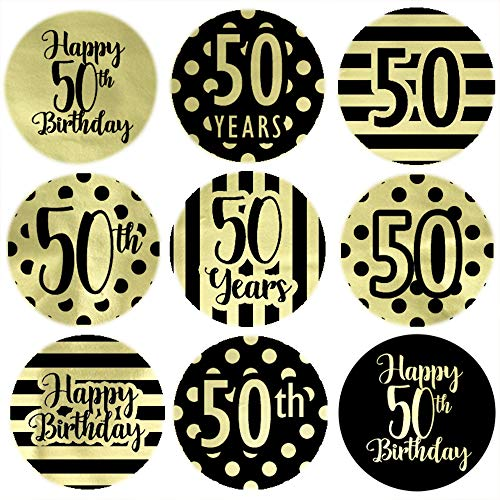 Black and Gold 50th Birthday Party Favor Labels - Shiny Foil - 180 Stickers (50th Birthday Stickers)
