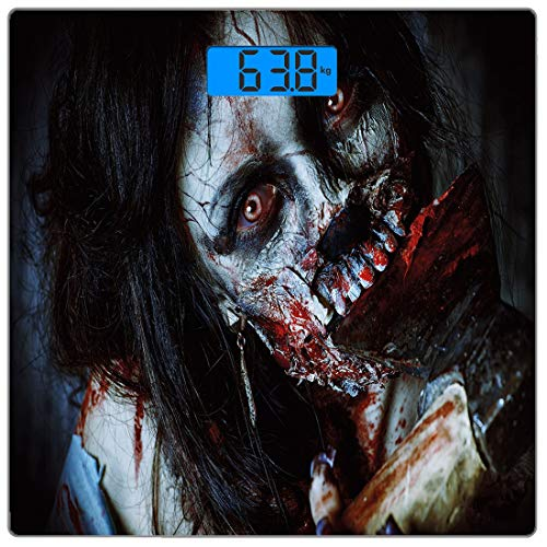 (Precision Digital Body Weight Scale Zombie Decor Ultra Slim Tempered Glass Bathroom Scale Accurate Weight Measurements,Scary Dead Woman with Bloody Axe Evil Fantasy Gothic Mystery Halloween Picture,Mu)