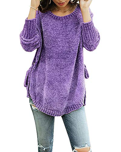 - Womens Pullover Sweaters Plus Size Cable Knit Crew Neck Long Sleeve Split Side Tie Knot Fall Jumper Tops Purple