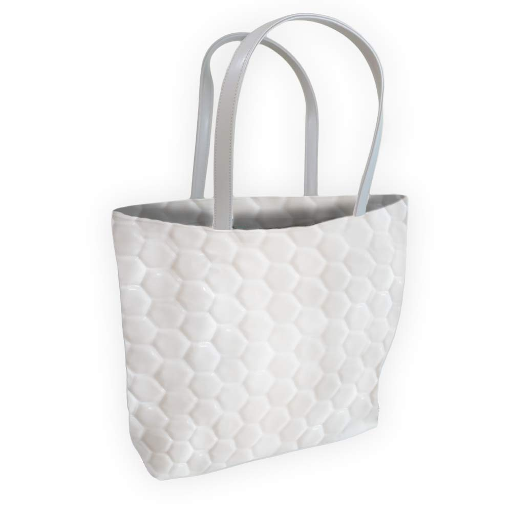 White Made from Actual Ball Material Perfect for groceries and shopping Zumer Sport Soccer Ball Leather Tote Bag