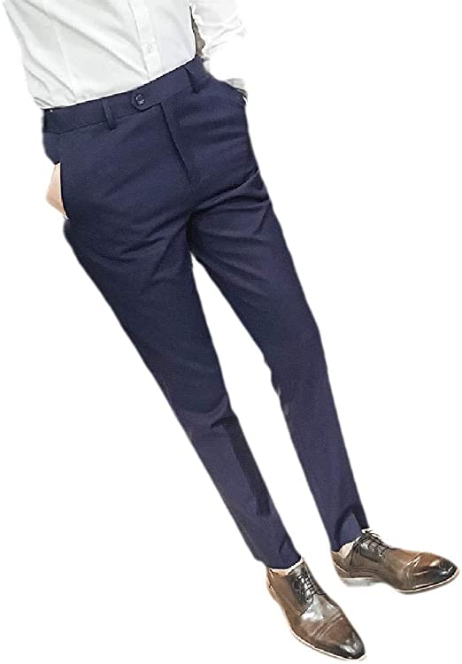 EnergyWD Mens Business Slim Relaxed Fit Gentleman Straight Leg Plain Front Pant