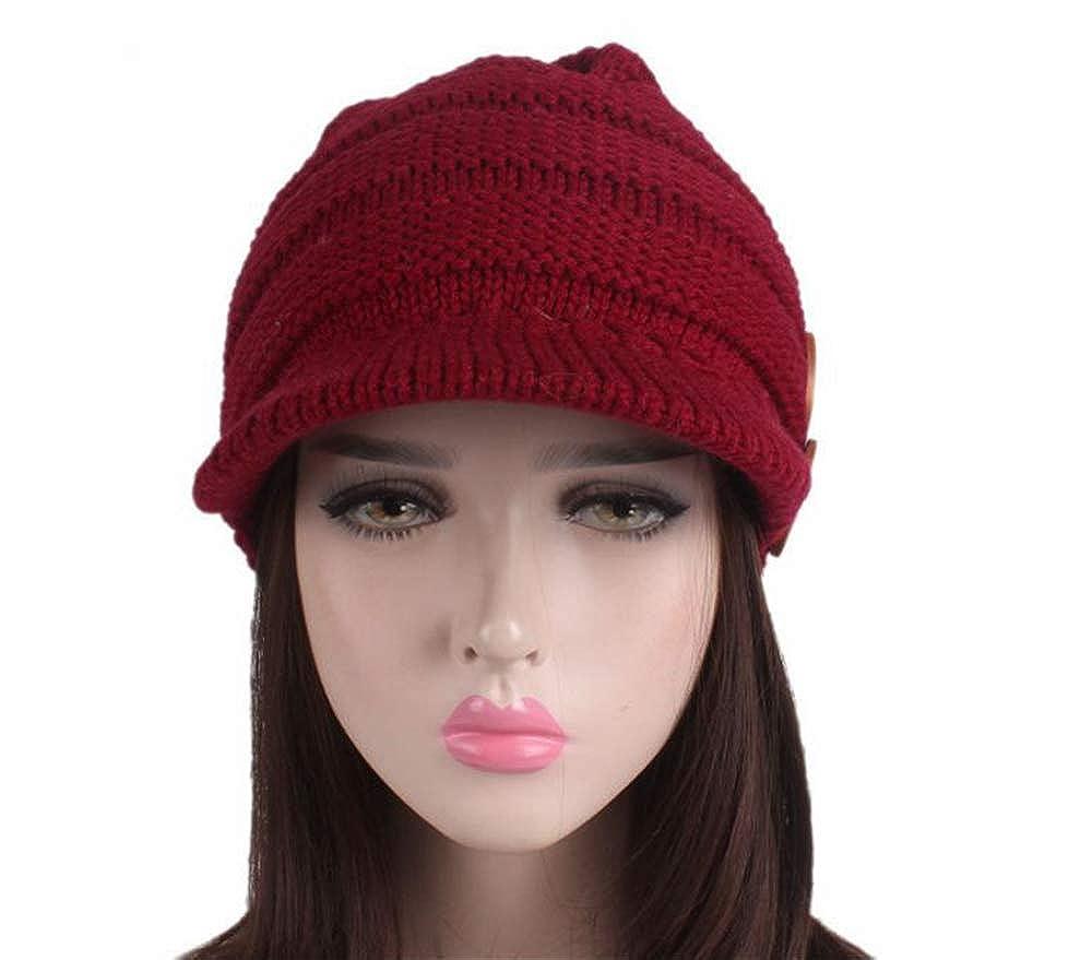 Smart.A Winter Hats for Women Girls Warm Wool Knit Snow Ski Skull Cap with Visor