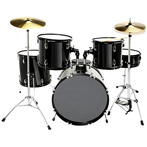 Size 5 Piece Complete Adult Drum Set Cymbals with Stand,Hi-Hat,Drum Stool,Drum Sticks Black ()