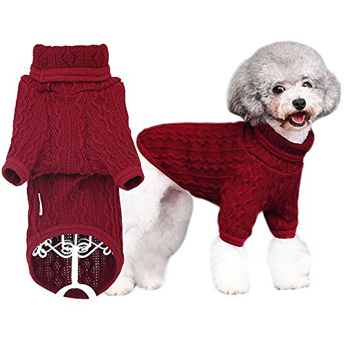 Red Dog Knit Sweater (Bolbove Classic Cable Knit Turtleneck Sweater for Small Dogs & Cats Knitwear Cold Weather Outfit (Medium, Burgundy))