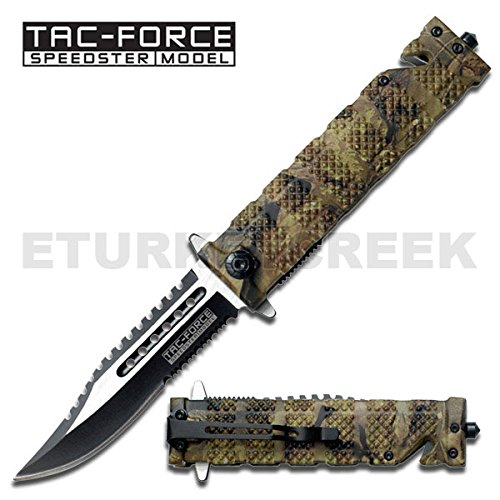 (TF-710JC Rescue Style Spring GOreQb5mAO Assisted Jungle Camo yeqG1x Tactical Fighter Knife plate sign metal ajieillw bnvmmfhryuiio90 hbnvbdherr56yuiiop ooru223bnvbcxza vnertyaz Rescue Style Spring Assist Knife. Jungle BrOZFrx1 Camo finish handle. Saw back partially serrated Sharpened stainless steel two tone blade. Window breaker on end of handle.Includes pocket / boot clip. Seat belt and cord cutter. EZuHmce 4 1/2 inch Closed)