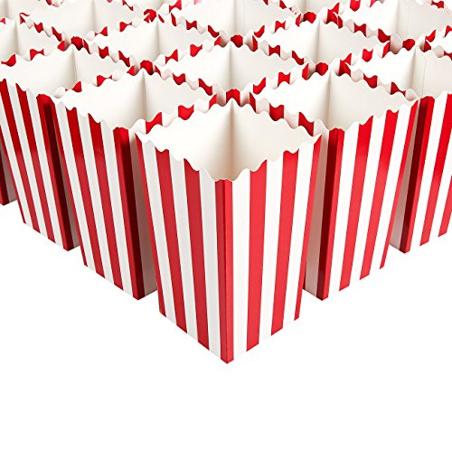 Party Favor Popcorn Boxes (Set of 100 Popcorn Favor Boxes - Carnival Parties Mini Paper Popcorn and Candy Containers, Party Supplies for Movie Nights, Birthday, Baby Shower, Classic Red and White Stripes - 3)