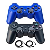 Bowink 2 Packs Wireless Bluetooth Controllers For PS3 Double Shock - Bundled with USB charge cord (Black and Blue)