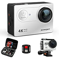 FITFORT Action Camera 4K WiFi Ultra HD Waterproof Sport Camera 12 MP 170 Degree 2 Inch LCD Screen Remote Control 2Pcs Batteries 19 Accessories -Silver