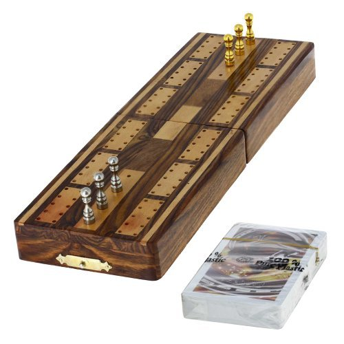 Game Cribbage Boards and Pegs Set with Storage by ShalinIndia (Folding Cribbage Board)