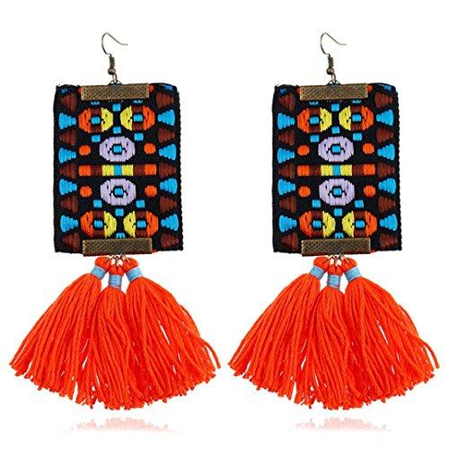 Handmade Dangling Earrings (Women Girls Bohemian Tassel Earrings Vintage Dangle Earrings Statement Handmade Tassel Fringe Drop Hoop Earrings (Red))