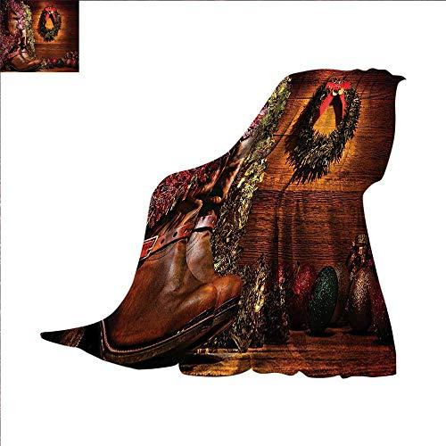 Anyangeight Western Decor Digital Printing Blanket Country Design with Cowboy Boots and Christmas Decorations in Vintage Cabin Lodge Summer Quilt Comforter 60