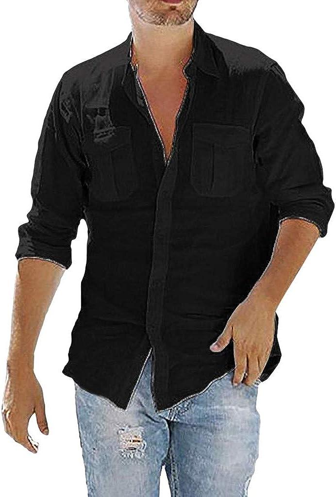 TUDUZ Camisetas Hombre Manga Larga Color Sólido Camisas Algodon Y Lino Tops Bolsillo Ropa De Cuello V