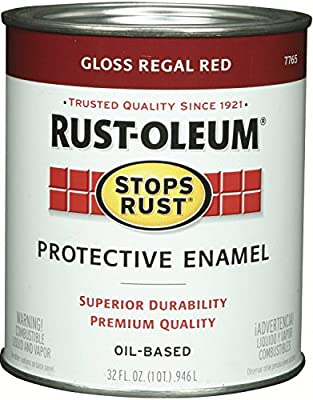 Rust-Oleum 7765502 Protective Enamel Paint Stops Rust, 32-Ounce, Gloss Regal Red