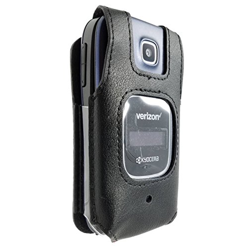 Kyocera Cadence Case Fitted Leather Cover S2720 LTE Phone With Heavy Duty Rotating Belt Clip Black