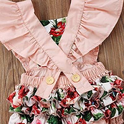 B. Bone Lovely Kids Infant Romper Baby Girls Flower Jumpsuit Pink Romper Bodysuit+ Headband Clothing Outfits: Clothing