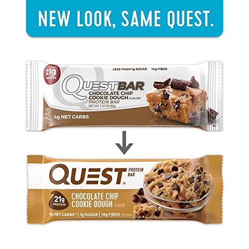 Quest Nutrition Protein Bar Chocolate Favorites (Cookies and Cream and Chocolate Chip Cookie Dough). Low Carb Meal Replacement Bar with Over 20g Protein. High Fiber, Soy-Free, Gluten-Free (24 Count) by Quest Nutrition (Image #6)