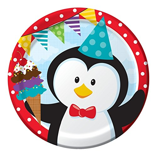 Creative Converting (420916) 8 Count Paper Dinner Plates, Penguin Party Penguin Party Shower
